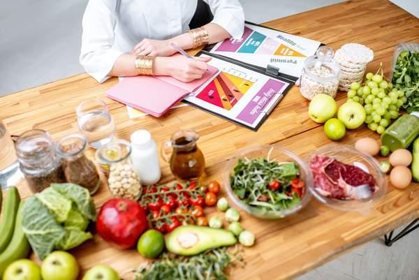 Ernährungsumstellung - Frau plant gesunde Ernährung