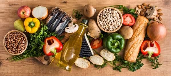 Lebensmittel der mediterranen Küche